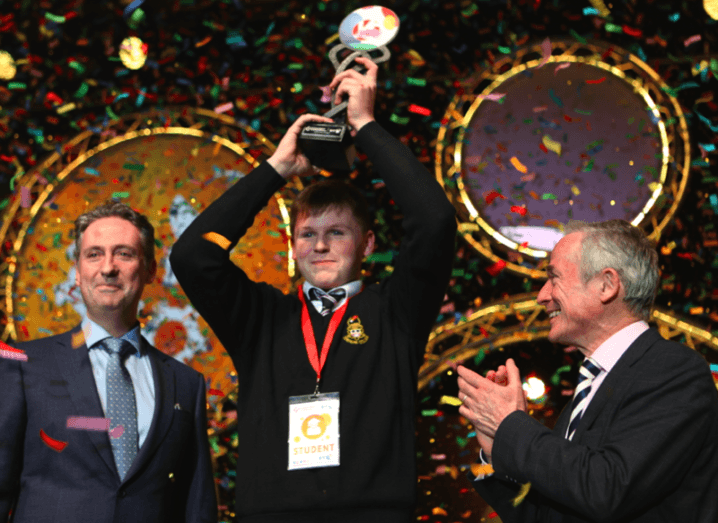 Shay Walsh, managing director, BT Ireland, Shane Curran, winner of 2017 BT Young Scientist and Technology Exhibition and Minister for Education and Skills, Richard Bruton, TD. Image: Connor McKenna