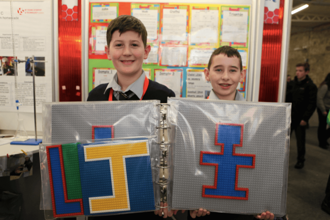 Daire Ó Gallchóir and Jack Mac Giolla Bhride from Pobalscoil Ghaoth Dobhair show us their Lego creations for BTYSTE