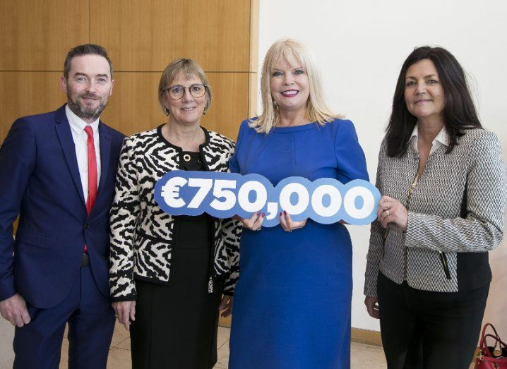 Pictured at the launch of Enterprise Ireland's 'all sector' fund were (from left): past recipient of Rob Laffan, Tippy Talk; Julie Sinnamon, CEO, Enterprise Ireland; Minister for Jobs, Enterprise and Innovation, Mary Mitchell O'Connor, TD; Orla Battersby, Enterprise Ireland's manager of high potential start-ups. Picture Colm Mahady / Fennells