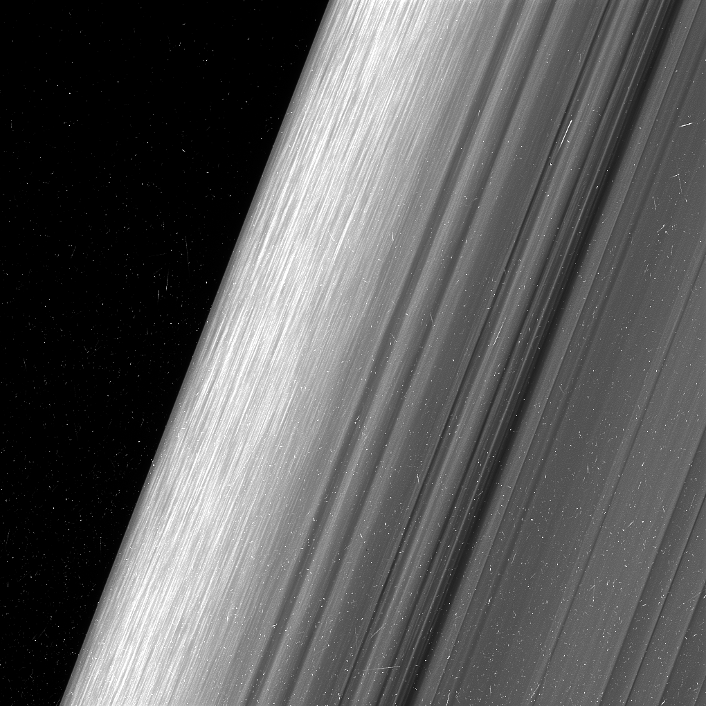 This shows a region in Saturn's outer B ring. This image is in twice the level of detail as it had ever been observed before. Image: NASA/JPL-Caltech/Space Science Institute