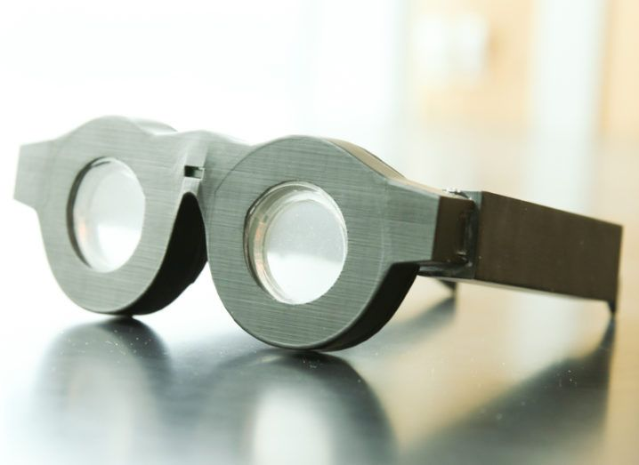 Early prototype of 'smart glasses' with liquid-based lenses that can automatically adjust the focus on what a person is seeing. Image: Dan Hixson/University of Utah College of Engineering