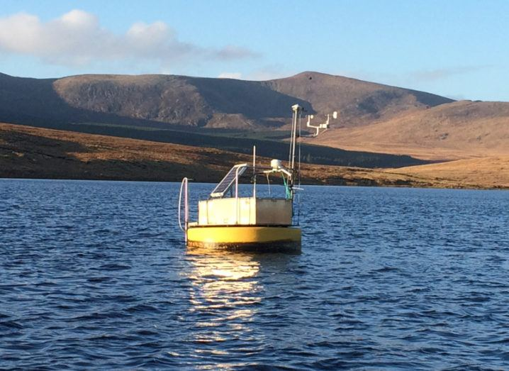 A water monitoring station on Lough Feeagh, which is maintained by Marine Institute. Image: Marine Institute