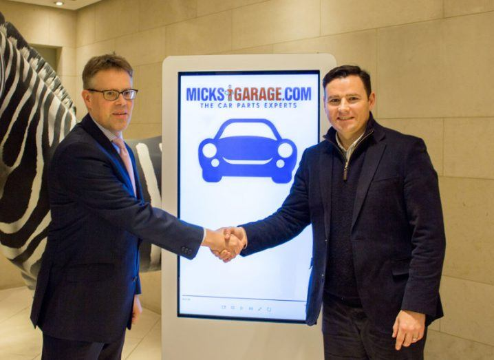 Nigel Poynton, Investec Wealth & Investment and Ciaran Crean, co-founder of MicksGarage.