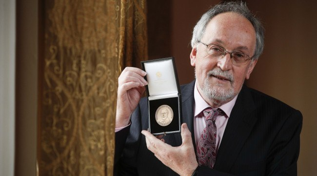 Prof Anthony Fagan receiving the Parsons Medal for Engineering Sciences for his exceptional ability in research and engineering technology awarded by the Irish Academy of Engineering. Image: Conor McCabe Photography