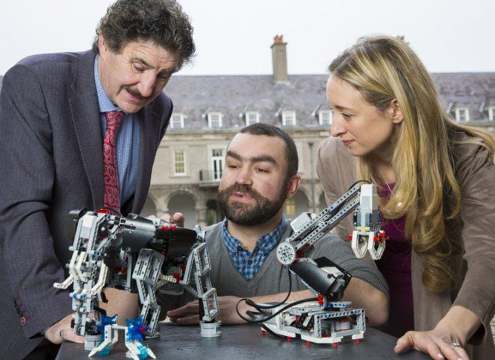 From left: John Halligan, Minister of State for Training, Skills and Innovation, TD; Ross Maguire, Learnit Educational Solutions; Dr Ruth Freeman, SFI. Pic: Keith Arkins