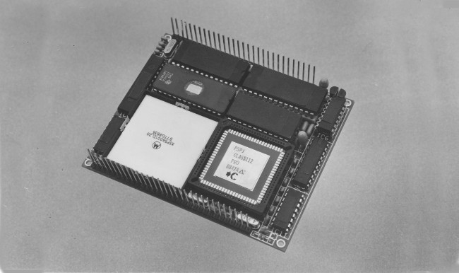 In 1988, this was the world's first fully featured V.32 modem, for which all the signal processing was carried out in a single chip. The DSP chip in question is in the large white package in the lower left of the card. The development was done in conjunction with Cornel Electronics. The research and prototyping were all done at UCD. Image: Tony Fagan