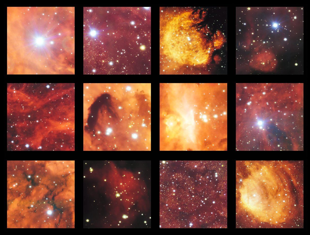 This montage shows a few of the highlights from ESO's latest survey of the Cat's Paw and Lobster nebulas. This part of the sky contains active regions of star formation where hot young stars make their surrounding clouds of hydrogen glow with a characteristic red colour. There are also clouds of dark dust in this rich celestial landscape. Image: ESO
