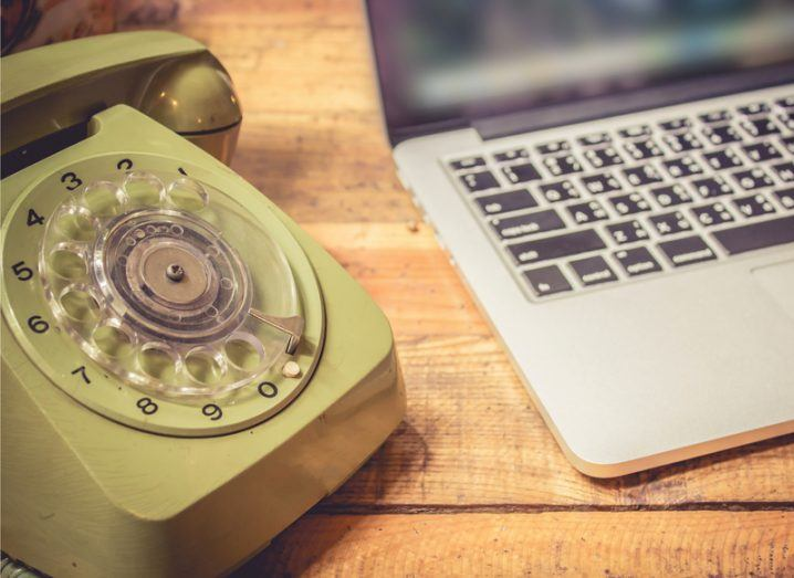 Data: rotary phone and laptop