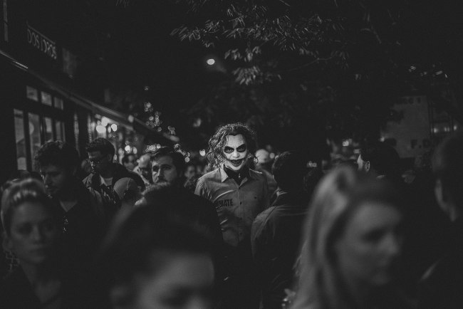 'Hallowe'en Protagonists'. Image: Constantinos Sofikitis, Greece, 1st Place, Open, Street Photography, 2017 Sony World Photography Awards