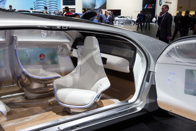 Interior of the Mercedes Benz autonomous concept car at the 86th International Geneva Motor Show in Palexpo, Geneva. Image: VanderWolf Images