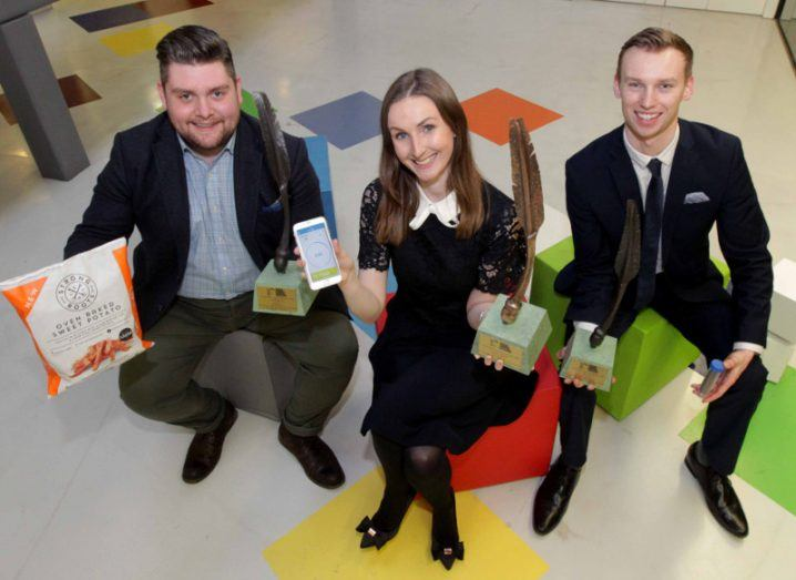 From left: Samuel Dennigan of Strong Roots, Ciara Clancy of Beats Medical and Alvan Hunt of Hexafly each won awards. Image: Mark Stedman