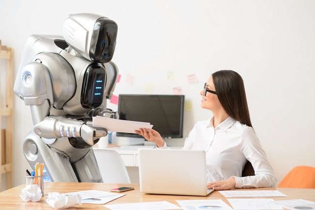 Robot with woman