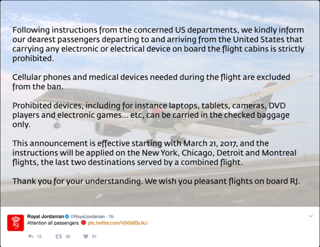 US to ban electronics bigger than cell phones from certain flights