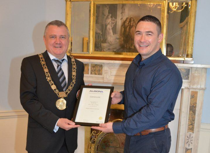 Lord Mayor of Dublin Brendan Carr is presented with his Alison certificate for The GreenPlan course by course founder Neil McCabe