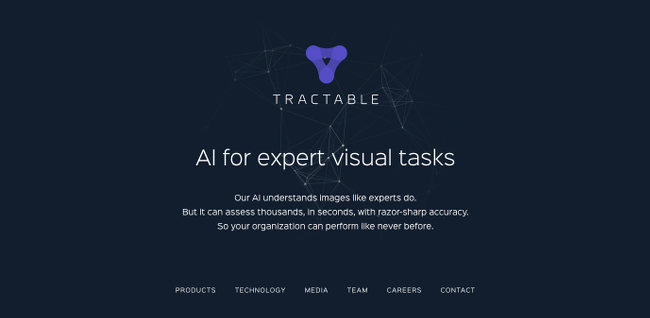 Screenshot from Tractable.ai website