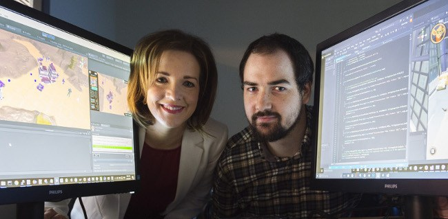 Niamh Costello, GM of the Galway Technology Centre, with Kevin Daly, lead programmer at 9th Impact. Image: