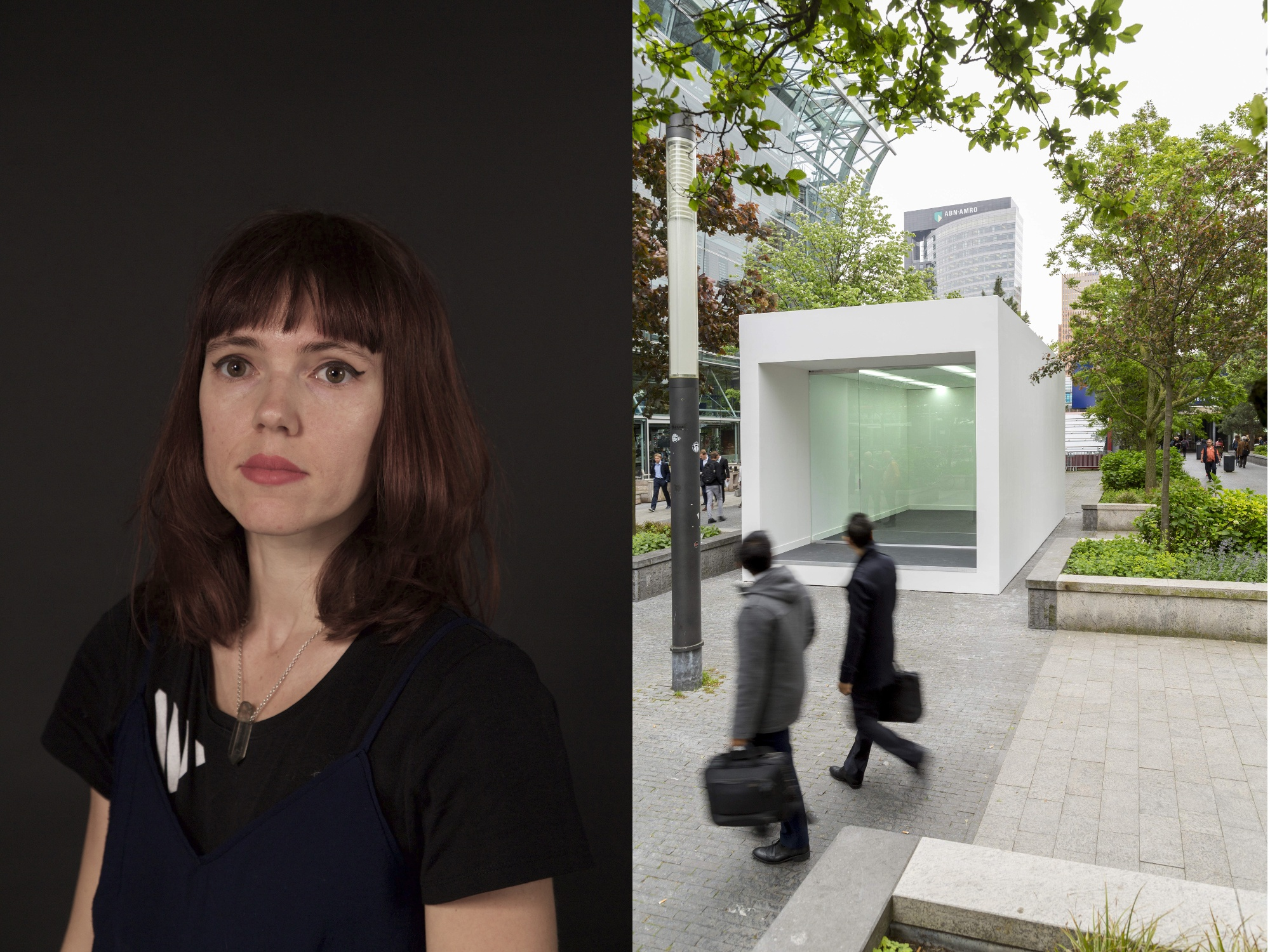 Artist Laura Couto Rosado (left) and Tomo Savic's 'Untitled 2016' (right). Image: CERN