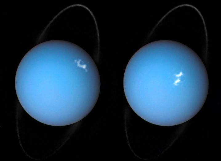 This is a composite image of Uranus by Voyager 2 and two different observations made by Hubble — one for the ring and one for the auroras. Image: ESA/Hubble & NASA, L. Lamy / Observatoire de Paris