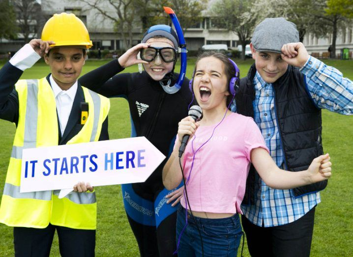 The 2018 BT Young Scientist and Technology Exhibition launches today. From left: Talha Moktar, Daisy Gavigan, Cara McCrystal and Finbar Guisti. Image: Fennell Photography