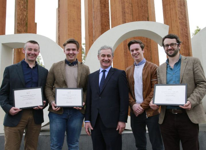 From left: Robbie Sinnott, Evan Darcy, Richard Stokes (DCU's director of innovation), Adam Dalton and Dr Owen Clarkin. Image: Nick Bradshaw