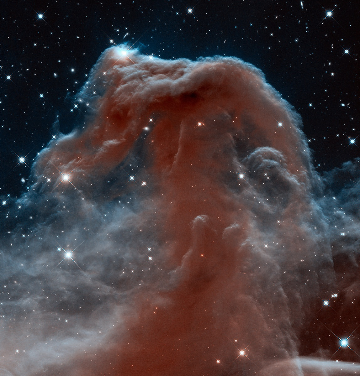 The rich tapestry of the Horsehead Nebula pops out against the backdrop of Milky Way stars and distant galaxies that are easily seen in infrared light. Image: NASA, ESA, and the Hubble Heritage Team (STScI/AURA)
