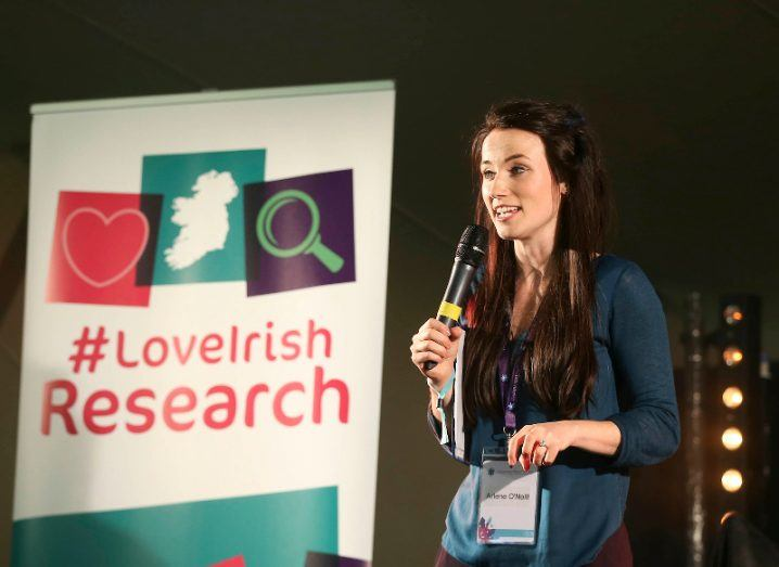 ResearchFest co-ordinator Arlene O'Neill MCs the 2016 competition at Inspirefest