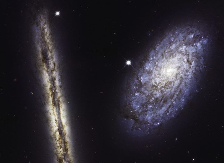 Hubble images of spiral galaxies NGC 4302 (left) and NGC 4298 (right) in visible and infrared light. Image: NASA, ESA, and M. Mutchler (STScI)