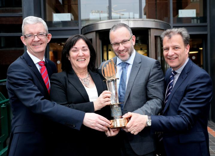 From left: Joe Healy, Enterprise Ireland; Anne Heraty, CEO of Cpl Resources plc and chair of the EY 'Entrepreneur Of The Year' panel; Kevin McLoughlin, partner lead for programme and Jeremy Fitch, Invest Northern Ireland. Image: Maxwells