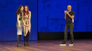 From left: Haiyan Zhang, Emma Lawton and Satya Nadella at Microsoft Build 2017. Image: Microsoft