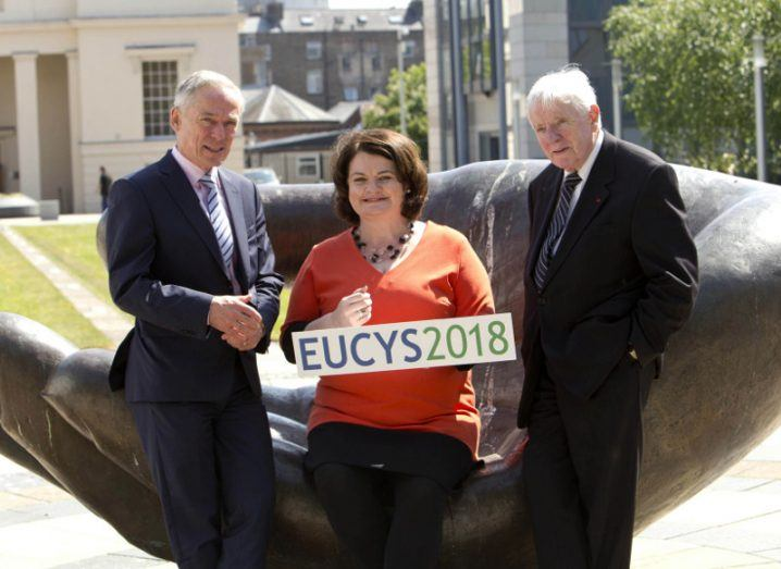 Richard Bruton, Minister for Education and Skills, TD,; Mari Cahalane, national organiser of EUCYS 2018; Dr Tony Scott, co-founder of the BT Young Scientist & Technology Exhibition. Image: Colm Mahady/Fennells