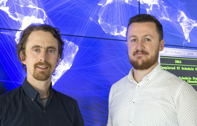 Dr Paul Deane (left) and Dr James Glynn, leading the Connecting Continents project at UCC MaREI. Image: UCC