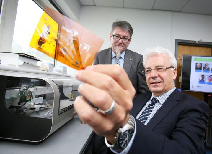 Prof Gordon Wallace, University of Wollongong, with Prof Jim McLaughlin, Ulster University