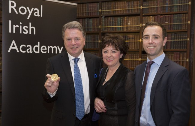 Prof Fergus Shanahan of UCC (left) shows off his RAI Gold Medal. Image: Johnny Bambury