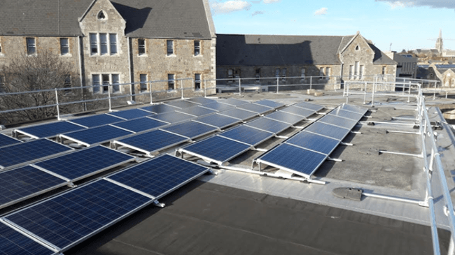 The testbed of PV solar panels for the vehicles, installed on one of the rooftop buildings in DIT Grangegorman