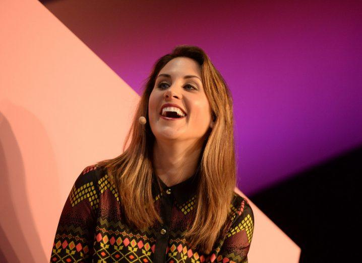 Anne-Marie Tomchak on-stage at the Web Summit 2015