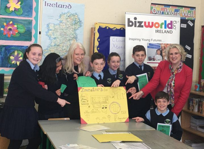 Fifth-class pupils from St Mochta's National School, Dublin, with Fiona McKeon, BizWorld Ireland; and Anne Ravanona, CEO, Global Invest Her
