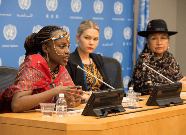 Valerie Kasaiyian (left), of Kenya, addresses a press conference on the empowerment of indigenous women at the United Nations, New York, March 2016