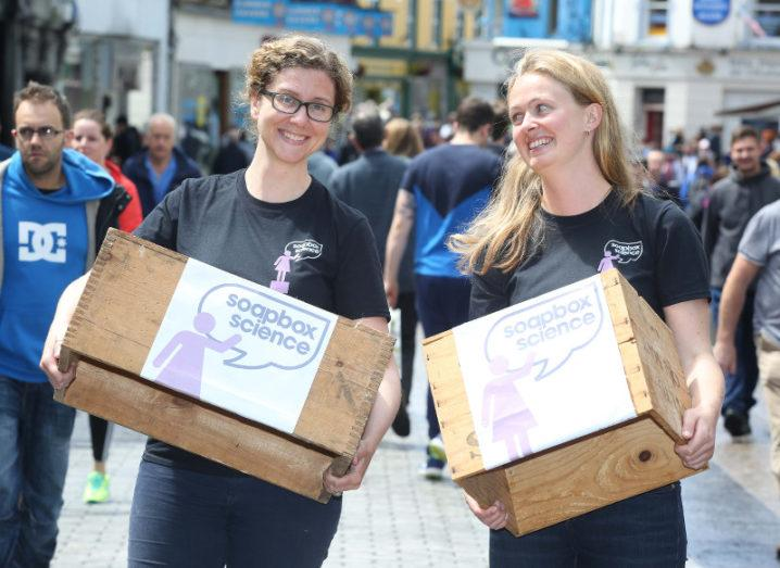 Dr Jessamyn Fairfield and Dr Dara Stanley from NUI Galway, event organisers of Soapbox Science Galway