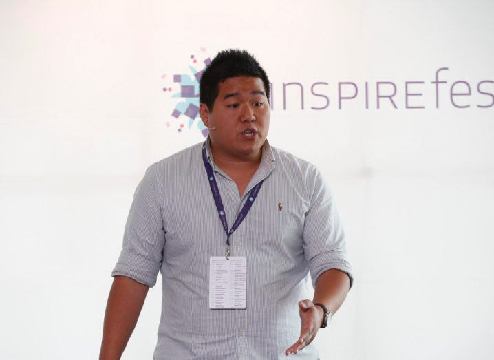 PhD researcher Joshua Chao during his three-minute presentation at Researchfest, Inspirefest 2017