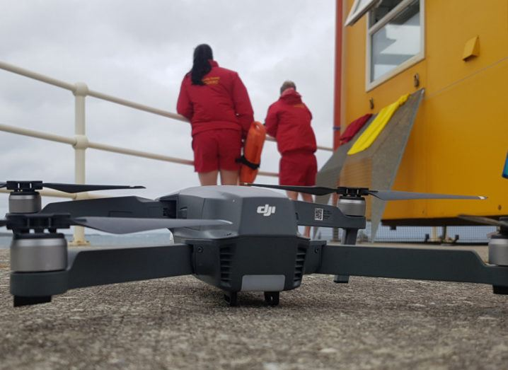A drone pictured outside the lifeguard hut at Spanish Point. Image: Clare County Council