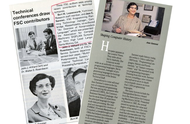 Jean Sammet clippings: IBM Archive
