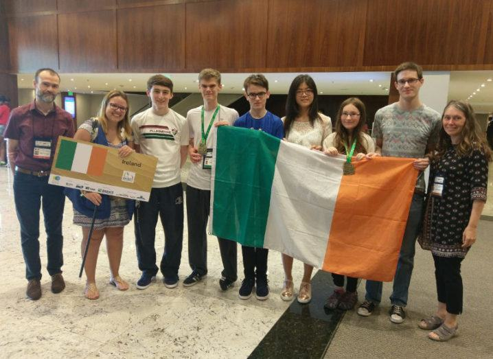 The Irish team pictured at the IMO 2017. From left to right: Mark Flanagan (Team Leader); Polyanna Stefani (Guide); Darragh Glynn (St. Paul's College, Raheny); Cillian Doherty, (Colaiste Eoin, Booterstown); Mark Heavey, (Blackrock College, Dublin) ; Antonia Huang, (Mount Anville Secondary School, Dublin); Anna Mustata,(Bishopstown Community School, Cork); Mark Fortune, (CBS Thurles Secondary School, Tipperary); Anca Mustata (Deputy Leader).