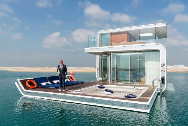 Floating Seahorse, Dubai, January 2017. The Floating Seahorse is an underwater holiday villa at the Heart of Europe, a man-made archipelago 2.5 miles off Dubai. It features underwater bedrooms and bathrooms. By the time the ambitious project is complete in 2018, there will be more than 125 floating villas, which cost as much as £2.2m each. Image: Nick Hannes, Documentary Series Winner, Magnum and LensCulture Photography Awards 2017.