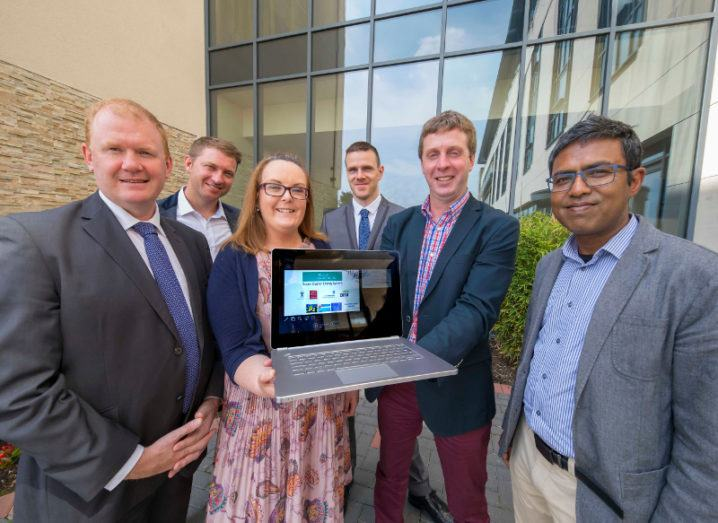 At the Pisces launch, from left: Senator Paudie Coffey; Tim James of Milford Haven Port Authority; Marie Harnett, Ireland Wales Programme; Tomas Cooper, Bord Iascaigh Mhara; Sean Lyons, Principal Investigator, TSSG, WIT; Dr Monjur Mourshed, Cardiff University. Image: Patrick Browne