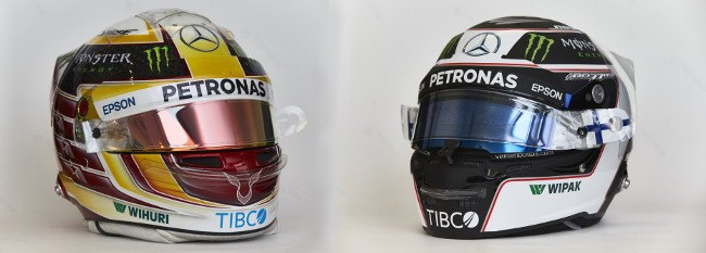 TIBCO's partnership with Mercedes Benz Formula 1 means the company features on the helmets of Lewis Hamilton (left) and Valtteri Bottas. Image: Daimler AG/Steve Etherngton