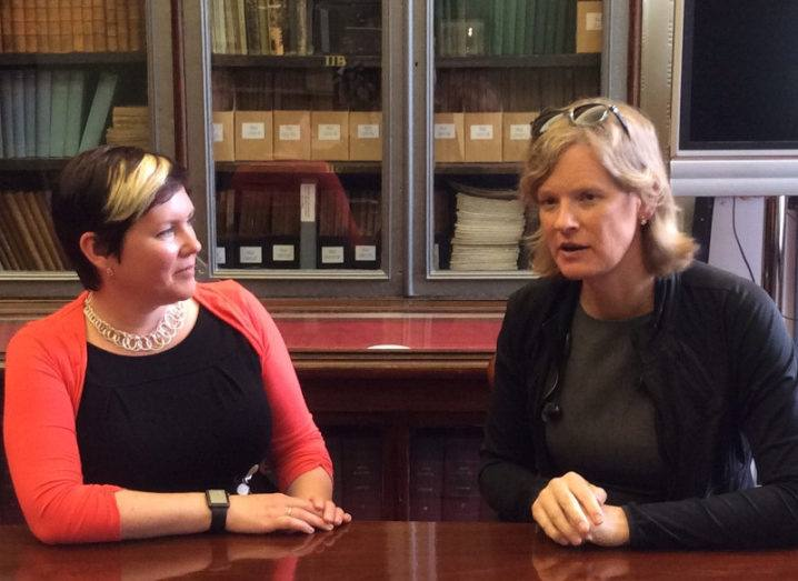 Dr Claire O'Connell meets with Dr Vivienne Ming (right) before the Royal Irish Academy Masterclass