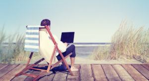 Working remotely on a beach