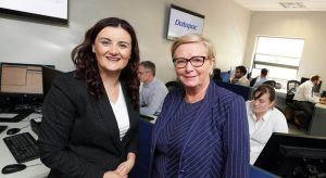 Pictured at the announcement that Datapac will create 35 jobs in Enniscorthy are Karen O'Connor, general manager service delivery, Datapac and An Tánaiste and Minister for Business, Enterprise and Innovation, Frances Fitzgerald, TD.