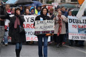 Protesters march in Dublin city centre in response to household water charges, November 2014. Image: Simon McLoughlin/Shutterstock