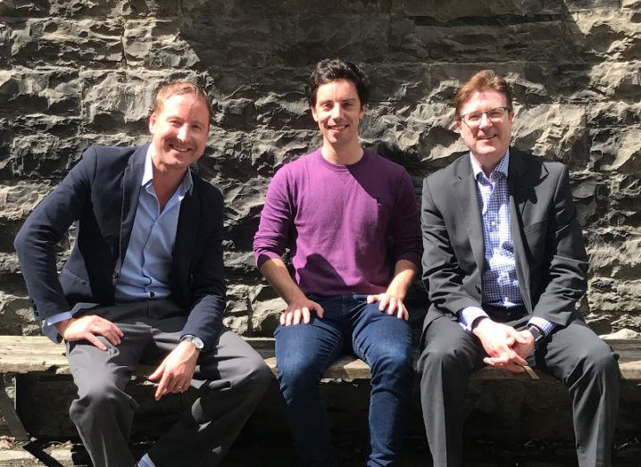 From left: Mike Brennan, Enterprise Ireland; Wia Founder & CEO Conall Laverty; and Barry Downes, managing partner at Suir Valley Ventures.